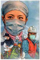 """China Anti COVID-19 Pictorial"" Postcard (49-1) Masked Anti-epidemic Personnel - Maladies"
