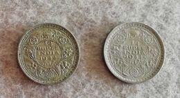 India 1/4 Rupia 1944 Giorgio VI Lotto Di Due Monete - India