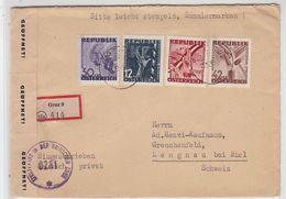 Österreich 1938 R-Brief Mit Schöner Frankatur In Die Schweiz AKs + Zensur - 1918-1945 1ste Republiek