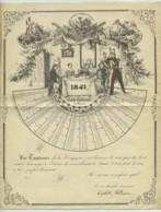 Calendrier 1841 En éventail Sur Voeux De La Garde Nationale De Paris . Tambours De La Compagnie . - Calendari