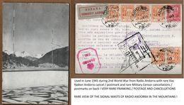 1945 Radio ANDORRA Andorre Signal Masts WWII Censor Used Postcard Cpa Rare Postage / Postmarks Radio Station Stamps - Andorra