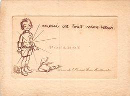 20-8511 : CARTE DE VISITE DE POULBOT. MERCI DE TOUT MON COEUR. MEDAILLE SCOLAIRE ? BONNET D'ANE. - Poulbot, F.