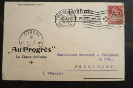 Perfin Lochung Suisse Perforé PROGRES Sur CP Magasins Au Progrès La Chaux De Fonds 1915 - Perforés