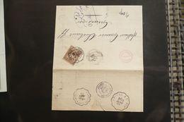 Perfin Sage Perforé CL Sur Lettre Crédit Lyonnais 1889 Ambulant épinal à St Dié Et Laveline à Gerardmer - Marcophilie (Lettres)