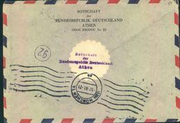 """1961. Eilbrief Aus Griechenland Mit Verschluß-Vignette """"Botschaft Der Bundesrepublik Deutschland, Athen"""" - Sin Clasificación"""