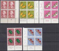 SCHWEIZ  MiNr. 648-652, 4erBlock Z.T. Mit Eckrand Und Insektennamen, Postfrisch **, Pro Juventute 1957, Insekten - Nuovi