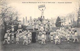 20-8544 : VISITE DE MONSEIGNEUR DELA PORTE A PONTLIEUE PRES LE MANS. GYMNASTIQUE  PYRAMIDE. - Francia
