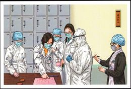 """""""China Anti COVID-19 Pictorial"""" Postcard (49-29):Staunch Medical Staff's Kind Heart(Press Fingerprints On Application) - Maladies"""
