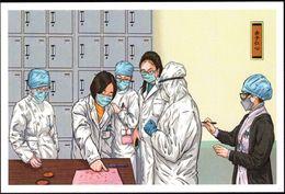 """China Anti COVID-19 Pictorial"" Postcard (49-29):Staunch Medical Staff's Kind Heart(Press Fingerprints On Application) - Malattie"