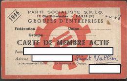 Carte De Membre Actif S.F.I.O. - 1946 - Sans Timbres De Cotisation - Vieux Papiers