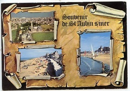 Souvenir De Saint Aubin Sur Mer : Multivues Parchemin N2087 Combier - Saint Aubin