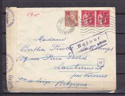 FRANCE 477+483*2 SUR LETTRE POUR DISON BELGIQUE CENSURE ALLEMANDE + RETOUR CONTENU INADMIS - Marcophilie (Lettres)