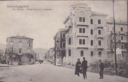 SALSOMAGGIORE-PARMA-VIA MILANO-HOTEL=ANGIOLI E SIMPLON= -CARTOLINA NON VIAGGIATA -ANNO 1910-1920 - Parma