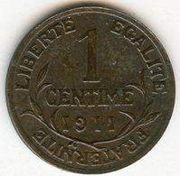 France 1 Centime 1911 GAD 90 KM 840 - France