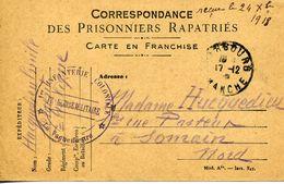 Carte FM CORRESPONDANCE DES PRISONNIERS RAPATRIES CHERBOURG 12/1918 1er INFANTERIE COLONIALE Pour SOMAIN - Marcophilie (Lettres)