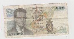 VINGT FRANCS  15-06-64 N° 3 X 2460924 - [ 2] 1831-... : Reino De Bélgica