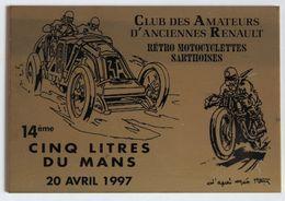 Plaque Bronze Club Des Amateurs D'anciennes Renault Rétro Motocyclettes Sarthoises 1997 14ème 5 Litres Du Mans Géo Ham - Voitures