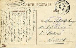 FONTAINEBLEAU 1916 ARTILLERIE Pour Le Secteur Postal 110 Carte Postale Forêt De Fontainebleau - Postmark Collection (Covers)