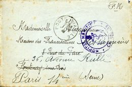 HOPITAL MARITIME CHERBOURG + Poste Navale 1/6/1940 Pour Fontenay Sous Bois Réexpédié Paris 14 - Guerra Del 1939-45