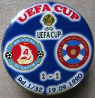 Pin UEFA Cup 1990-1991 1/32 Final Dnipro Dnipropertovsk Vs Heart Of Midlothian Edinburgh - Football