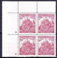 Boheme Et Moravie 1941 Mi 69 (Yv 51), (MNH)** Bloc De 4 Avec Croix (Kreuz), Rouge-violet - Ungebraucht