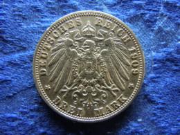 PREUSSEN 3 MARK 1909, KM527 Scratched - [ 2] 1871-1918 : Empire Allemand
