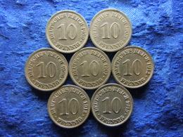 GERMANY 10 PFENNIG 1900, 1905-1907, 1912, 1913, 1915 All A, KM12 (7) - [ 2] 1871-1918 : Empire Allemand