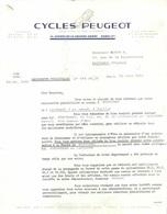 CYCLES PEUGEOT AV GRANDE-ARMEE PARIS 17° - LETTRE POUR LE DEPLACEMENT DE LA CAMIONNETTE PUBLICITAIRE SUR POITIERS - Transports