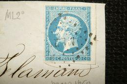 Napoléon Petite Varieté Sur Nez Sur Fragment Lettre 1860 Ambulant Marseille à Lyon ML2 - 1853-1860 Napoléon III