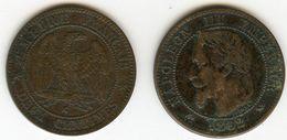 France 2 Centimes 1862 K Tête Laurée GAD 104 KM 796.6 - France