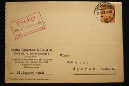 Allemagne Perfin Lochung Perforé G Sur CP Gustav Genschow Berlin 1922 - Abarten