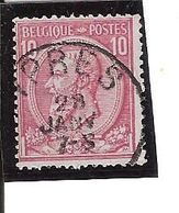 N° 46 . OBL.YPRES  Défaut Tache Blanche Dans Cou (plaatfout) LOT K102 - 1884-1891 Léopold II