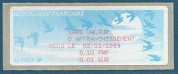 LISA (ATM) - Vignette De Reçu En Français Impression Rouge - 4ème Version: En Franc Et En Euro - 1990 «Oiseaux De Jubert»