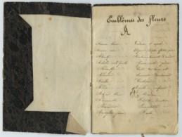 Coquet Carnet Manuscrit XIXe . Emblêmes Des Fleurs . Horloge De La Flore . Poèmes . Botanique . - Manuscrits
