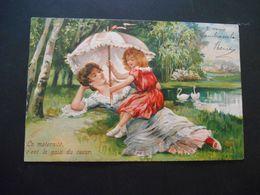 Femme élégante Et Petite Fille Avec Ombrelle Devant Un Lac Avec Des Cygnes - Gaufrée - Femmes