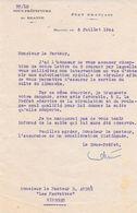 1944 - Etat Français : Demande Refusée De Circuler En Véhicule à Essence Même Pour Le Service Du Culte (2 Courriers) - Historical Documents