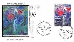 FRANCE. FDC. N°206790 .13/01/2017.cachet Paris. MARC CHAGALL. LE PARADIS - 2010-....