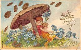 Nouvel An - N°67790 - Bonne Année - Anges Sous Un Champignon, Avec Des Myosotis - Carte Gaufrée - Nouvel An