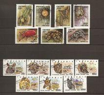 Tanzanie - 1992/95 - Petit Lot De 4 Séries Complètes° - Araignées - Crabes - Animaux Sauvages/Parc Nationaux - Reptiles - Vrac (max 999 Timbres)