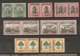 South West Africa - Petit Lot De Timbres Surchargés Official/Offisieel En Paires Mint Hinged - Charniérés - Africa Del Sud-Ovest (1923-1990)