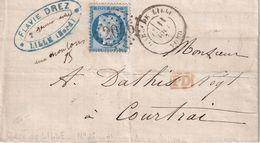 Marque Postale Gare De Lille Type 18 - 1849-1876: Période Classique