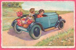 Fantaisie - Jeune Homme Et Jeune Fille Dans Fiacre - Décapotable - Automobile - Enfant - 1938 - Taxis & Fiacres