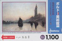 Carte JAPON - PEINTURE FRANCE - CLAUDE MONET - TRAIN / ROUEN Musée Bordeaux - JAPAN PAINTING Bus Card - Nishi 1899 - Peinture