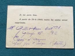 Carte De Correspondance Prisonnier De Guerre Français Août 1940 Rare Modèle - 1939-45