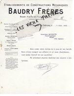 10 - Aube - BRIENNE-LE-CHATEAU - Facture BAUDRY - Constructions Mécaniques - 1913 - REF 150 - France