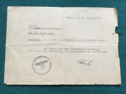 Papier Allemand D'un Français Interne à Fresnes Avril 1944 - 1939-45