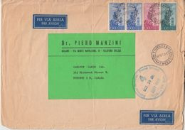 Italien - 2x500+300+100 L. Flugpost Schwerer Luftpostbrief N. CANADA Milano 1953 - Italië