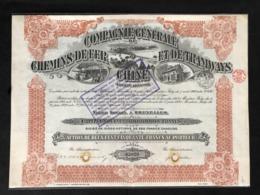Cbc - COMPAGNIE GENERALE DE CHEMINS DE FER ET DE TRAMWAYS EN CHINE (1920)  ====  BEAUTIFUL ITEM ==== - Chemin De Fer & Tramway