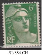 FRANCE ANNEE 1951 N° 884 NEUF Charniere - France