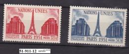 FRANCE ANNEE 1951 N°911/12NEUFs*** - Unused Stamps